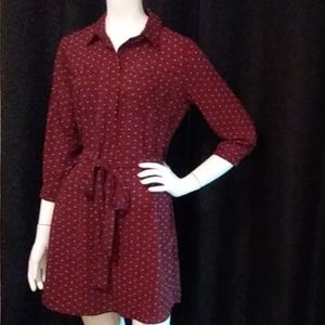 RUE 21 dize small NWOT maroon dress with pink dots
